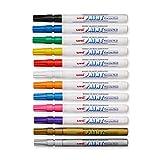 Uni-Paint PX-21 Oil-Based Paint Marker, Fine Point, Assorted Colors, 12-Count