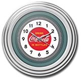 Trademark Global Coca-Cola Clock with Chrome Finish 1930s Style, 11.75-Inch Diameter
