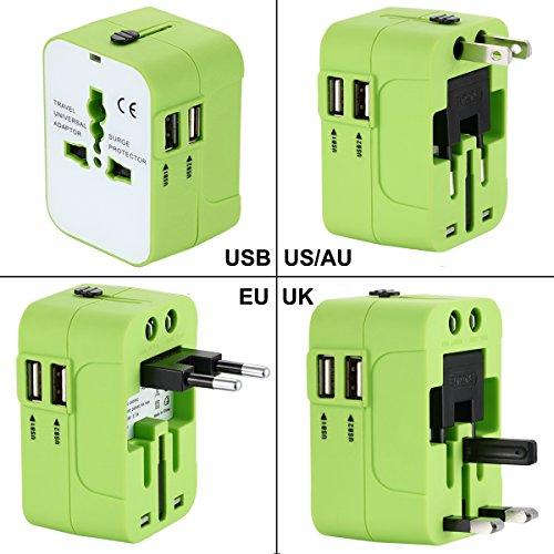 International Travel Power Adapter Kit,Wacye Universal World Power Adapter Converter AC Power Plug Adapter for Europe USA UK AUS Asia (Green,2 - Singapore Outlet