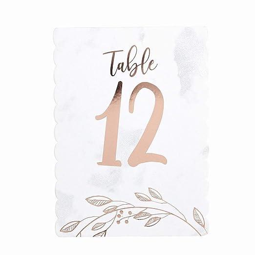 Luck and Luck Números de Mesa de Boda de Oro Rosa (1-12): Amazon ...