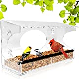 Image of Window Bird Feeder - 2017 Model - Extended Roof - Reinforced Perch - Sliding Feed Tray Drains Water - See Wild Birds Up Close! - Large