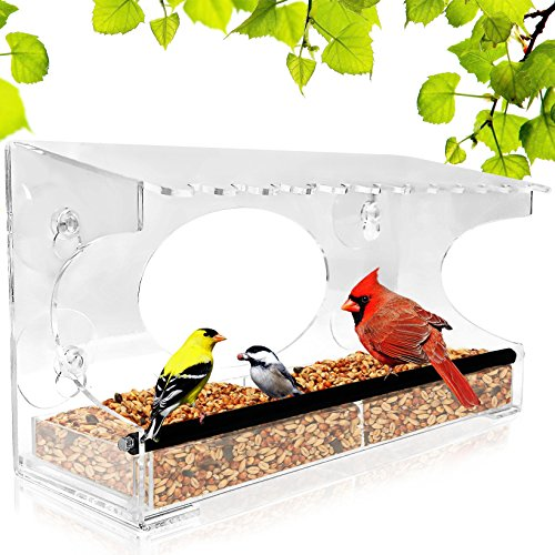Window Bird Feeder - 2018 Model - Extended Roof - Steel Perch - Sliding Feed Tray Drains Water - See Wild Birds Up Close! - Large