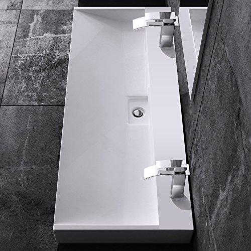 BTH: 120x46x11 cm Design Waschbecken Colossum19-2-Loch, aus Gussmarmor, Waschtisch, Waschplatz
