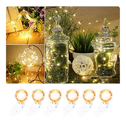Sanniu 6 PCS Fairy Lights Battery Operated 7.2ft(2M) 20 Leds, Micro String Lights Copper Wire Batteries Powered String Light For Wedding Centerpiece Dinner Party Decoration]()