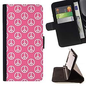 Momo Phone Case / Flip Funda de Cuero Case Cover - Hippie símbolo de paz del rosa del amor Wallpaper sesión - Samsung Galaxy S5 V SM-G900