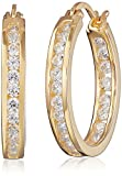 Goldtone Finish Silver Cubic Zirconia Medium Round Hoop Earrings (3/4 cttw)