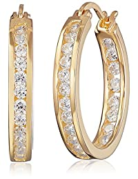 Sterling Silver Cubic Zirconia Medium Round Hoop Earrings