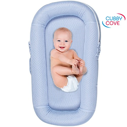 CubbyCove Baby Newborn and Infant Lounger with Canopy–Portable Bassinet for Cosleeping, Sleep Positioner, Tummy Time and Lounging. Super Soft and Breathable. CPSIA Certified. Suitable 0-18+ Months