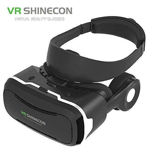 "VR SHINECON Virtual Reality Glasses Headset with Stereo Headphone Speaker for 3D Videos Movies Games Compatible with Most 3.5""-5.5"" iPhone, Samsung, HTC, LG, Sony, Moto Smartphone (Black)"