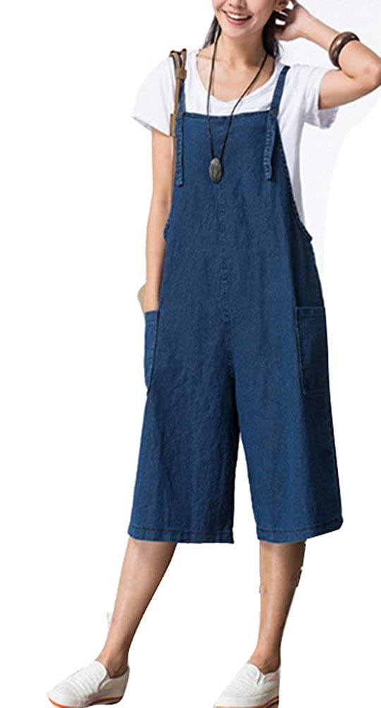 FEESON Womens Casual Cotton Baggy Short Blue Jumpsuit Romper Overalls