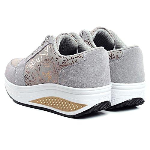 Zapatos Adolescents que Recorre Antideslizantes YUHUAWYH Zapatos Las Ocasional Gris Mujeres de Deporte qwEYw8a