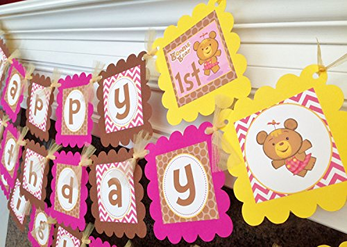 PARTY PACK Special - Happy Birthday Babys First TV Bonnie Bear Inspired Collection - Hot Pink Chevron Brown Polka Dots with Yellow (Baby First Tv Party Supplies)