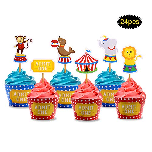 Circus Animals Cupcake Toppers and Wrappers for Birthday