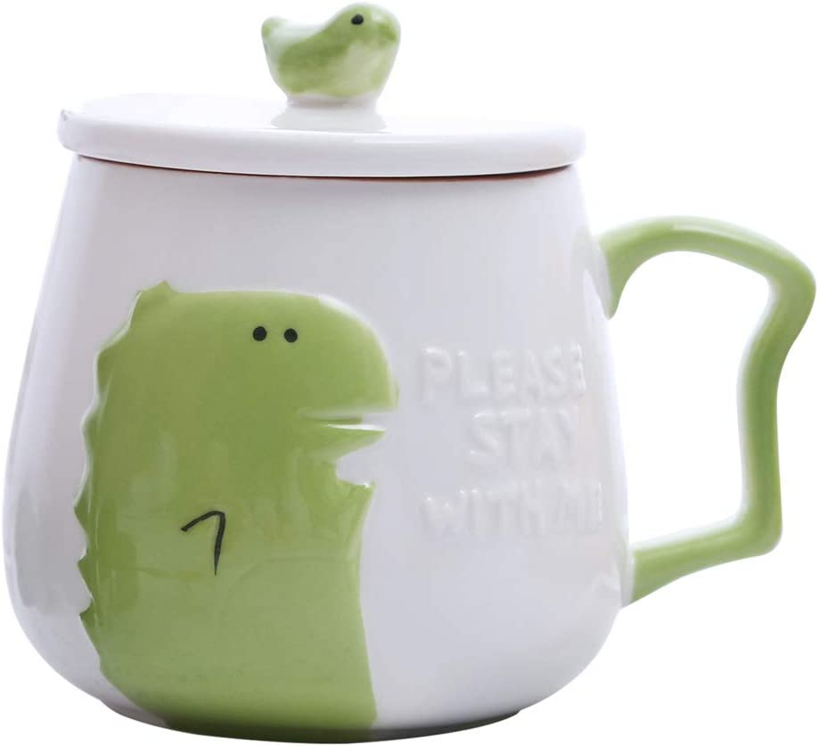 UPSTYLE Novelty Ceramic Coffee Mug Cute Funny Cartoon Animals Tumbler the Office Travel Tea Cup To Go with Lid for Men and Wonmen (14oz/400ml Dinosaur)