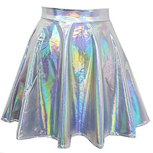 Rave Outfits Iridescent Halloween Rainbow Unicorn Party Supplies Holographic High Waisted Flare Skater Circle Skirt (XL, 369SR2)]()