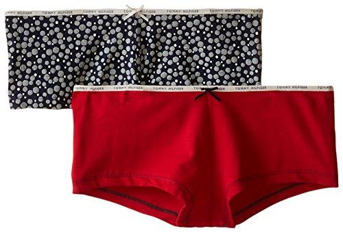 Tommy Hilfiger Women's 2 Pack Classic Cotton Boyshort, Stripy Dot Pea Coat/Tango Red, X-Large