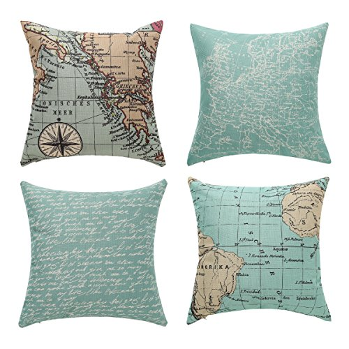 Uther Throw Pillow Covers, Decorative Pillowcase for Home Sofa Bedding Couch,Cotton Linen Map Pillow Covers 18 x 18 Inch Set of 4
