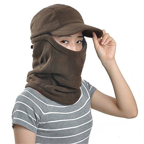 ECYC Masked Scarf Fleece Cap Hat Warm Windproof Balaclava for Women Men Winter [ brown ]