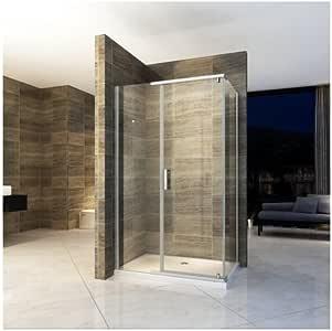 Bagno Italia - Mampara de ducha de 8 x 80 x 120 mm, puerta fija para salón, reversible, cristal transparente I: Amazon.es: Bricolaje y herramientas