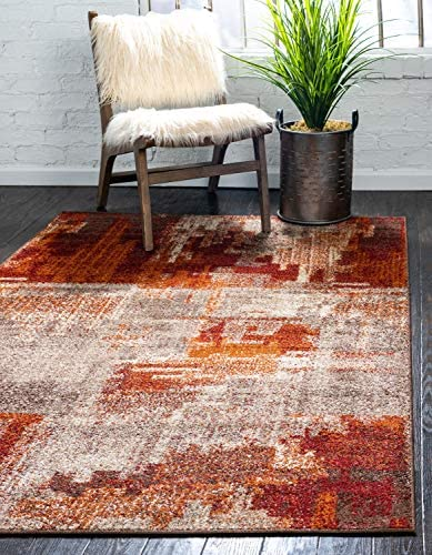 Unique Loom Autumn Collection Rustic Casual Warm Toned Abstract Multi Area Rug 9 0 x 12 0