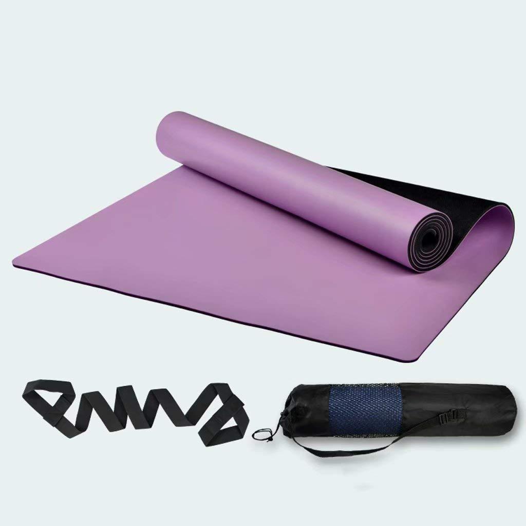 5mm Yoga-Übungsmatte - Rutschfeste Naturkautschuk-Yogamatte Fitnessmatte Rutschfeste Yogamatte (lila