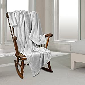 Queen Fleece Super Soft Warm Fuzzy Plush Couch Blanket, Extra Soft Brush Fabric, Lightweight Super Warm Bed Blanket (90-Inch-By-90-Inch) White, By Nestl Bedding