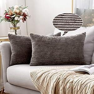 MIULEE Lot de 2 Housse Coussin Velours Côtelé Mince Decoration Canapé Taie d'oreiller Design Doux Décoratif Couleur Uni…