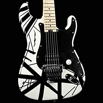 EVH Striped Series Stratocaster Electric Guitar - White with Black Stripes
