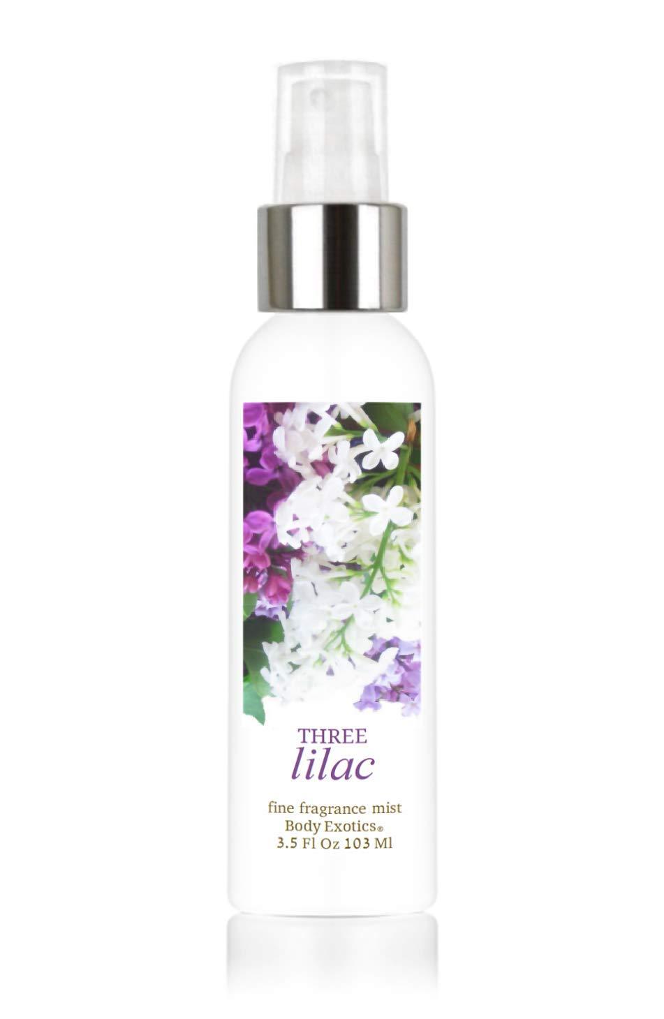 Three Lilac Perfume Fine Fragrance Mist by Body Exotics 3.5 Fl Oz 103 Ml ~ an Irresistible Blend of Light Purple, Dark & White Lilac Blossoms