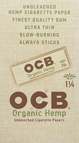 (OCB Organic Hemp Unbleached Rolling Papers 1 1/4 UNFLAVORED Flavor Pack of 24 )
