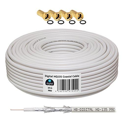 130dB 10m Koaxial SAT Kabel HQ-135 PRO 4-fach geschirmt für DVB-S / S2 DVB-C und DVB-T BK Anlagen + 4 vergoldete F-Stecker SET Gratis dazu