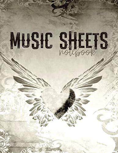 Music Sheets Notebook: Winged Heart with Blank Sheet Music Templates for Songwriters, Musicians, and Theory Students with Large Pages 8.5x11 Inches