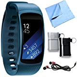Samsung SM-R3600ZBAXAR Gear Fit2 Smartwatch with Large Band - Blue Bundle includes Smartwatch w/ Large Band, Metal Ear Buds, Neoprene Pouch 2-Pack and Microfiber Cleaning Cloth