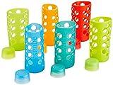 Aquasana Rainbow  Silicone Sleeves with Matching Lids, fits Aquasana Brand 18oz  Glass Water Bottles, 6-pack