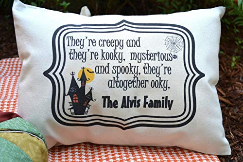 Halloween Pillow personalized with your Family Name Creepy and Kooky décor item for Halloween -