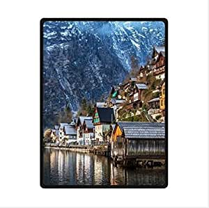 Attractive Hallstatt Village In Austria -Austrian Custom Fleece Blanket 58 x 80 (Large)
