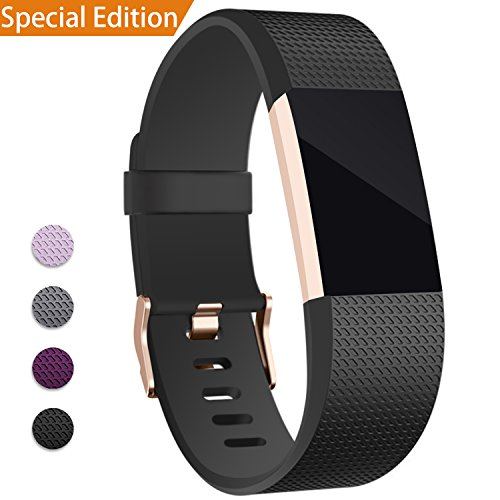 Hotodeal For Fitbit Charge 2 Band, Classic Soft TPU Adjustable Replacement Bands...