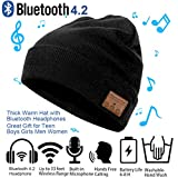 Bluetooth Beanie Hat  Winter Outdoor Sport Knit Cap with Wireless Stereo Headphone Headset Earphone Speaker Built in Mic Thick Warm Hat for Skiing Skating Running Fits Men Women Boys