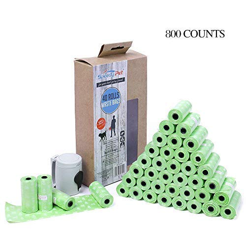 Eco-Friendly Green PAWZ Road 40 Rolls//800 Counts Dog Waste Bags with Dispenser Leak-Proof Pet Poop Bags,Unscented