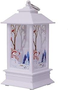 Awolf Christmas Lantern, Vintage Flame Effect LED Lantern, Battery Operated Lighted Christmas Scene Lantern, Christmas Holiday Home Decor (A)