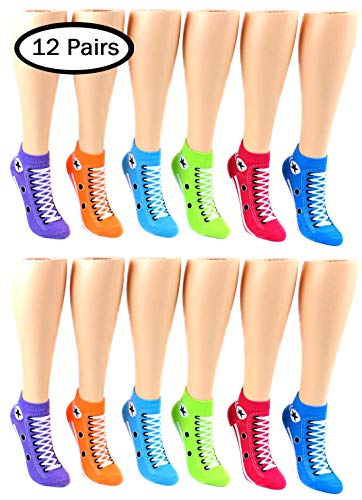 Women's Low Cut Sneaker Print Socks - 12 Pair Pack -
