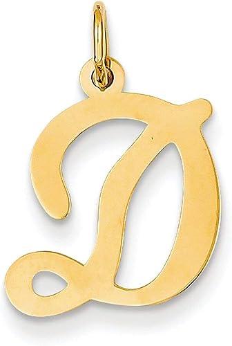 Fancy Letter D Pendant Initial Alphabet Charm Fashion 14K Yellow Gold