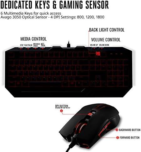 Cooler Master Devastator 3 - Combo de teclado y mouse para juegos, retroiluminación LED de 7 modos de color, teclas multimedia, configuración de 4 DPI 7