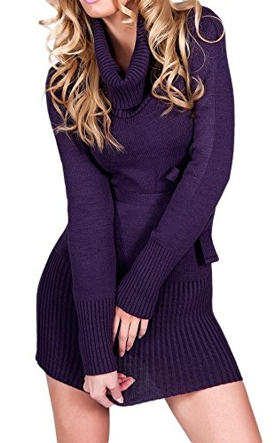 Glamour Empire. Womens Warm Knit Tunic Jumper Mini Dress Turtle Neck. Belt. 358 (Purple, ONE SIZE US 4/6/8, ) (Glamour Belted Belt)