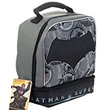 Batman Dark Knight DC Superhero Kids Insulated 2-Section Padded Lunch Bags Lunchbox