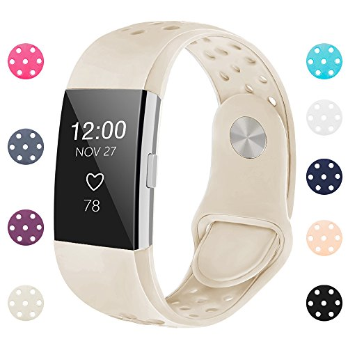 iGK Silicone Replacement Bands Compatible for Fitbit Charge 2, Adjustable Breathable Sport Strap Smartwatch Fitness Wristband with Air Holes with Clsap Beige Small
