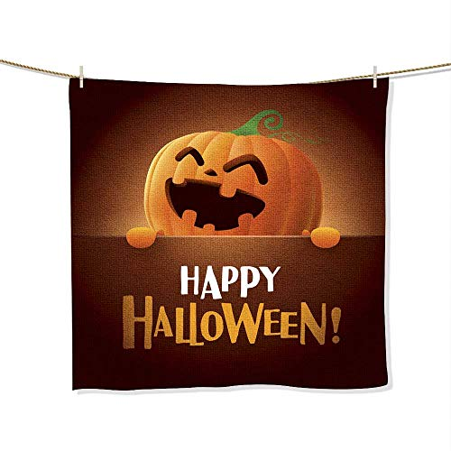 FootMarkhome Print Soft Large Decorative Hand Towels Happy Halloween!6 Multipurpose for Bathroom, Size:13.8