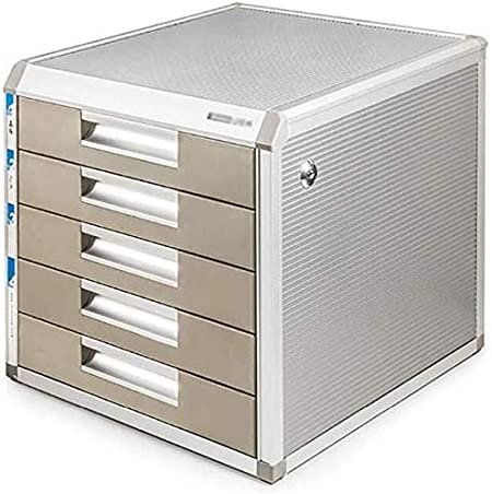 Archivadores Archivo contenedor con cierre de aleación de aluminio Caja de almacenamiento de datos de la oficina de mesa de escritorio del cajón del armario de deslizamientos pequeña pista de marca bl: