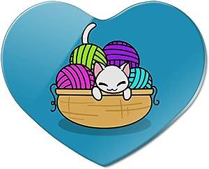 Cat In Yarn Basket Heart Acrylic Fridge Refrigerator Magnet