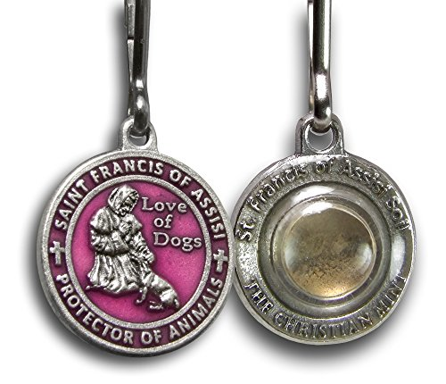(The Christian Mint, LLC St. Francis of Assisi Enameled Pet Medal with Capsule of Assisi Soil (For Smaller Dogs) (Pink))